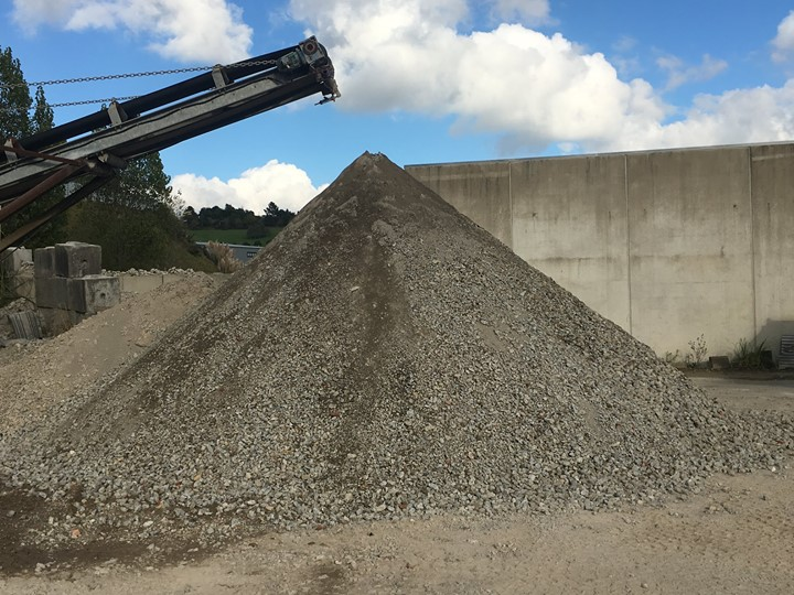 Pile of recycled concrete in Auckland